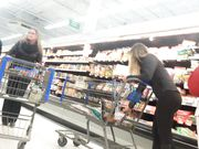 Bubble Butt Girl buying Groceries
