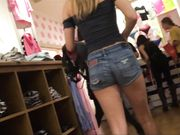 Hot young teen shopping with mom