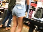 Candid teen in shorts