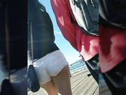 Nice ass in short white shorts