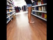 Candid voyeur hot tan legs blonde at Walmart shopping