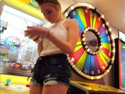 Candid voyeur creepshot teen beauty jean shorts arcade