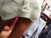 Candid voyeur creepshot teen shopping showing belly