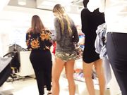 Hottest girl in tight camo spandex shopping mall