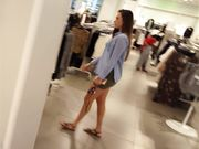 Hot thick MILF in tight short dress shopping mall