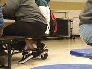 Fat ass teen in cafeteria