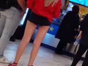 Candid voyeur teen blonde hot skinny at mall