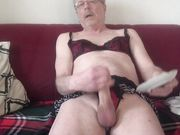 Sissy grandpa plays with dick and balls