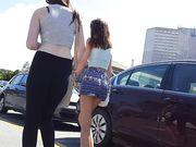 Tight Teen in Blue Print Shorts Walking