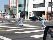 YAMCAM CROSSWALK LATINA IN TIGHT JEANS