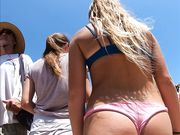 Perfect Teen Asses In Pink Thong And White Shorts